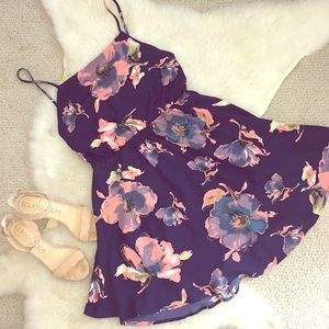 Lulu's Navy Floral Open Back Dress